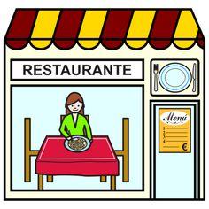 Pictogramas ARASAAC - Restaurante. Spanish Worksheets, Kindergarten Worksheets, Worksheets For Kids, Activities For Kids, Spanish Teacher, Teaching Spanish, Teaching Math, Community Places, Paper Doll House