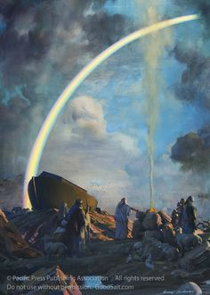 "Artist: Harry Anderson<br><br>Title: ""The Bow of Promise""<br><br>After the destruction of the Antediluvian world by a worldwide flood, the ark, built by Noah and preserved by God, came to rest on Mount Ararat as the waters receded. The tragic rejection of God's offer to save all who would enter the ark was heartbreaking to Noah's family, and, of course, to the Creator. Not wanting His children to live under fear of another flood God said to Noah ""This is the sign of the covenant which I…"