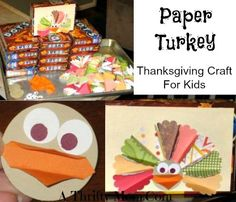 THANKSGIVING CRAFT FOR KIDS ~ PAPER TURKEYS...love this idea to use gift paper or scrapbooking scraps