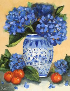 Original oil painting: Hydrangeas in Blue and by KIMPETERSONART