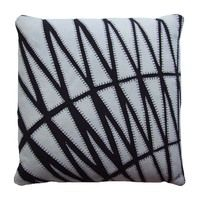 Inspired by the glass ceiling on the top floor of the iconic Gherkin building in London, this black linen cushion has been embroidered with a series of patches using blanket stitch to create this stunning geometric design.