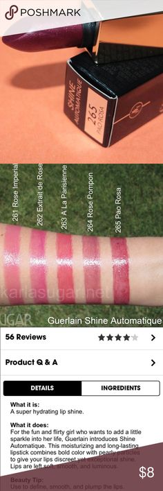 NWOT! Guerlain Pao Rosa Shine Lipstick BRAND NEW! Beautiful shine lipstick in shade Pao Rosa 265. Has my previous employee number etched. Also, this is a tester product & has a minor chip. (Hence the price.) Comes w/o box but is brand new & has never been swatched. Feel free to ask any questions not stated in the description. I only ship 1-2 times a week; ask when before purchasing. 🚫No trades & only reasonable offers will be accepted via the offer button.🚫 Thank you for stopping by. 💕…