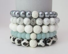 Gemstone stack beaded bracelets, sterling silver, stack bracelet, amazonite, gray, stretchy, black, blue, seafoam, teal, white, shell, set