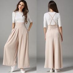 Fashion-Women-039-s-High-Waist-Suspenders-Wide-Leg-Pants-Casual-Culottes-Trousers