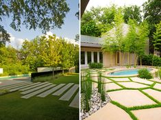 love the pathway in the image on the left.  this link has a bunch of great modern styled yards.