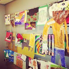 Organized way to display kids artwork.