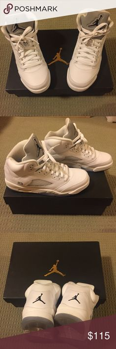 Air Jordan 5 Retro BG 100% Authentic Air Jordan 5 Retro BG. Color: white/black-metallic silver. Excellent condition, very lightly used. Still very white, purchased at full price plus tax. Comes with original packaging, as shown in picture. Jordan Shoes Athletic Shoes