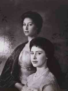 Princess Margaret with a painting of herself (Queen Elizabeth's sister)