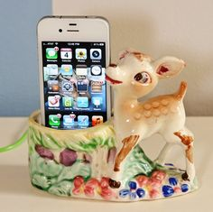 Vintage planter iphone dock. A great use for small vintage planters, which are, frankly, too small for plants!