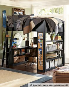 Loft Bed - Love this and it provides so much floor space, a DOUBLE Bed, and organizational units...Maybe in a guestroom since my son is ANTI-LOFT!