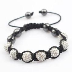 Iced Out Shamballa Bracelet Macrame Disco Silver Stone 9mm: Amazon.co.uk: Jewellery