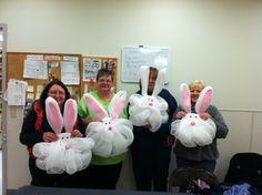 Deco Mesh Bunny Heads via A.C. Moore Hanover, PA  #decomesh #easter