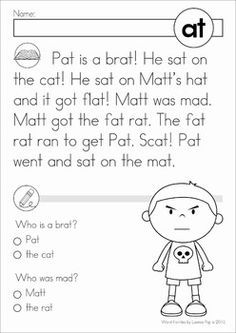 Word Family Word Work Unit - AT. A page from the unit: reading comprehension page
