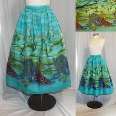 Full Skirt Novelty Print Vintage Fabric Western by SideShowAlley