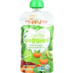 Happy Tot Toodler Food - Organic - Love My Veggies - Spinach Apple Sweet Potato and Kiwi - 4.22 oz - case of 16