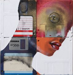 Nick Gentry - the Immortal 2011 / Oil paint & used computer disks on wood / 19cm x 18cm