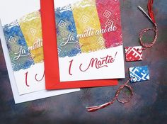 Martisor Tricolor, Card and Envelope with Martisor, Romanian Tradition, Baba Marta, Martisor Traditional, Folk Charm, Spring Lucky Charm Baba Marta, Beginning Of Spring, Lucky Charm, Envelope, Red And White, Folk, Traditional, Handmade Gifts, Cards