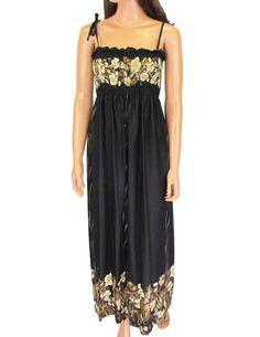 Black Night Aloha Maxi Long Dress - Mahea - This stunning Hawaiian dress dress can eaily take you from day to night. You'll feel fabulous wearing it. $48.95