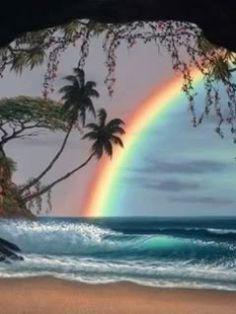 rainbow, ocean, palm trees