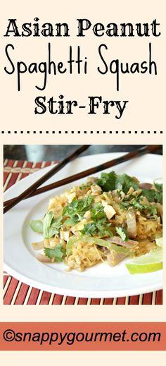 Asian Peanut Spaghetti Squash Stir-Fry recipe | snappygourmet.com