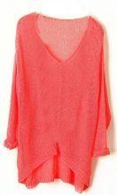 Pink Vintage Asymmetrical Sheer Loose Sweater $30.08