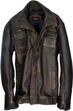 GHOST Leather Jacket Distressed Brown - Mid Length