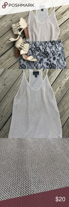 Crocheted Silver Sparkle Razor Back Tank Awesome going out top! I paired it here for an out on the town look but is great with jeans or whatever! Only worn once so the top is like new! Cynthia Rowley Tops Tank Tops
