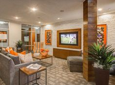 Resident lounge and clubroom at AMLI Riverfront Park, LoDo luxury apartments.