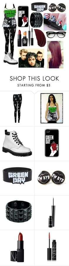 """""""Green day fan outfit #2"""" by gglloyd ❤ liked on Polyvore featuring Dr. Martens, Hot Topic, Sally Hansen, MAC Cosmetics, NARS Cosmetics and Sole Society"""