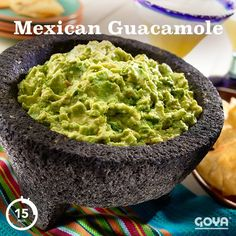 Nothing says fiesta quite like a delicious bowl of guacamole. Ripe, buttery avocados, mashed with fresh cilantro, bright lemon juice, fiery jalapeños and crunchy white onions is appetizer heaven! Dip Recipes, Pork Recipes, Mexican Food Recipes, Ethnic Recipes, Yummy Appetizers, Appetizer Recipes, Goya Recipes Puerto Rico, Goya Sazon Recipe, Bon Appetit