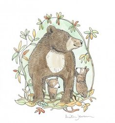 'Mother bear with two cubs'     Anita Jeram