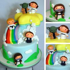 Don't have kids but still love this.    Yoda and Leia. Hmm. This one's by Sweetfix bakery: http://j.mp/110gPgq