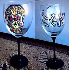 Hand painted original wine glass! No other event will have one!
