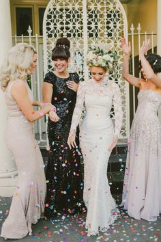 Mismatched Bridesmaids via Emily & Ed's Great Gatsby Garden Wedding  / Wedding Style Inspiration / LANE (PS Instagram: the_lane)