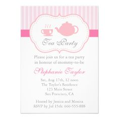 Sweet Pink Baby Shower, Tea Party for Mom to Be Announcement