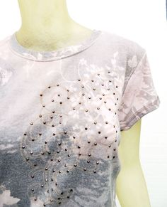Nordstrom One World Floral Studded Gray Pink Pastel Muted Studded Tee Top Large