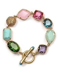 Carolee Lux Candy Couture Mixed Shape Bracelet love this! This is NOT a Kate Spade gemstone bracelet. I Love Jewelry, Jewelry Box, Jewelry Watches, Jewelry Accessories, Fashion Accessories, Jewelry Design, Fashion Jewelry, Gold Jewelry, Jewellery