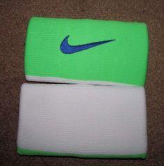 Nike Tennis Premier Half & Half Doublewide Wristbands Flash Lime White Blue #Nike