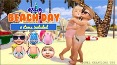 Sims 4 | Beach Day Toddler Pack #VictorrMiguelCreations CAS clothing fullbody bottom makeup facepaint glasses accessory swim male female base game patch converted