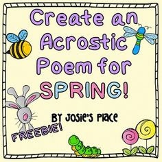 Have your kids create an acrostic poem for spring with this template. Kindergarten Poetry, Kindergarten Freebies, Acrostic Poem For Kids, Acrostic Poems, Spring Poem, 2nd Grade Writing, Common Core Reading, Thing 1, Reading Workshop