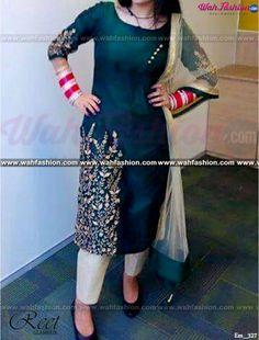 Stunning Dark Green Embroidered Punjabi Suit