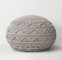 RH TEEN's Hand-Knotted Macramé Pouf - Grey:A favorite from the macramé is a must-have for modern style seekers who value its natural texture and organic appeal. Ours is intricately hand knotted – and gives this classic pouf its hipster credentials. Macrame Curtain, Macrame Bag, Micro Macrame, Pillow Lounger, Diy Pouf, Rh Teen, Platform Bedroom, Teen Room Decor, Macrame Design