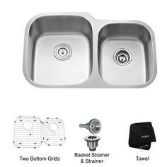 Kraus 20.75-in x 32-in Stainless Steel Double-Basin Undermount Kitchen Sink