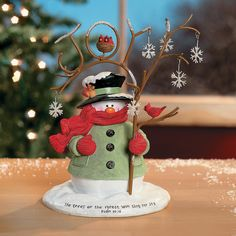 Snowman with Rustic Tree - OrientalTrading.com