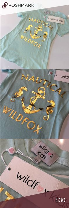 """Wildfox Kids Nautical T-shirt, Size 7/8 Wildfox Kids Tourist Crew Tee with  gold foil """"Nautical"""" Archie and seahorse graphic on front. Size: 7/8, Color: Pool Dip (mint green) Wildfox Shirts & Tops Tees - Short Sleeve"""