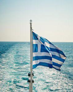Greek Flag Sailing in the Aegean Sea, Greece. Corfu, Karpathos, Crete, Paros, Greece Flag, Greek Culture, Rumble In The Jungle, Flag Art, Greek Islands