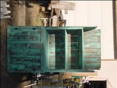 turn old fence boards into a hutch