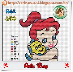 Baby Ariel perler bead pattern by Carina Cassol - Pontinhos Mágicos