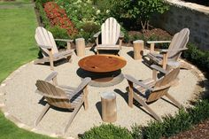 Fire Pit Chairs, Fire Pit Seating, Outdoor Seating Areas, Fire Pit Backyard, Backyard Seating, Big Backyard, Sand Fire Pits, Outside Fire Pits, Landscaping With Rocks