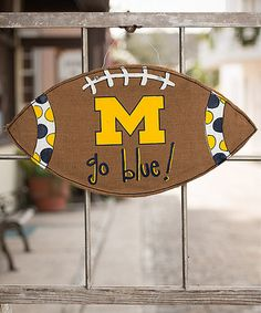 Take a look at this Michigan Football Burlap Wall Hanging by Glory Haus on #zulily today!